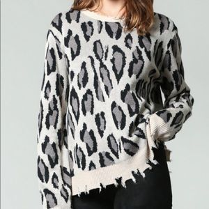 Fate leopard distressed sweater, size large